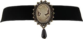 Fashion Retro Black Victorian Cameo Pearl Bead Velvet Choker Necklace