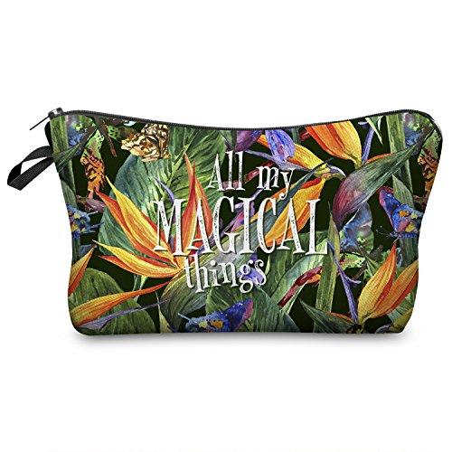 Fringoo, Vanity Fille Femme Garçon multicolore Magical Things Tropical Flowers - Make Up Bag L23 x H14 x W8 cm