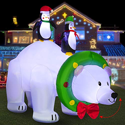 HOOJO 8 FT Christmas Inflatable Polar Bear with Peguins Shaking Head, Outdoor Decoration with Build in LEDs, Blow up Indoor, Yard, Garden Lawn Decoration
