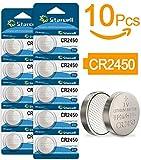 ACT Lot de 10 piles bouton au lithium CR2450 3 V pour bougies votives, bougies...