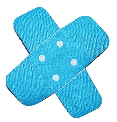 Bügelbild - Pflaster - neon blau - 7,5 cm * 7,5 cm - Aufnäher gewebter Flicken / Applikation - für Kinder Teddy Plüschtiere - Mädchen Jungen - Krank Krankenhaus Heilung Reparatur - Arzt Krankenschwester