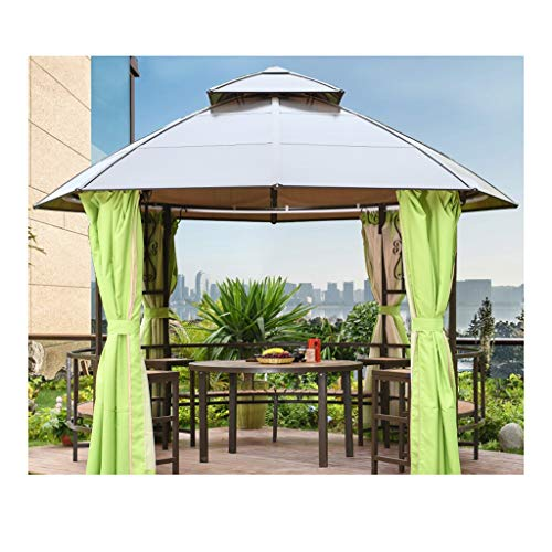 YYDD 12x12 FT gazebos al Aire Libre for Patios con Redes y Cortinas, Patio Trasero Gazebo del pabellón, for Patio jardín Junto a la Piscina