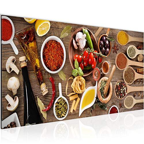 Wandbilder Küche - Gewürze 1 Teilig Modern Vlies Leinwand Wohnzimmer Flur Essen Bunt 003112a