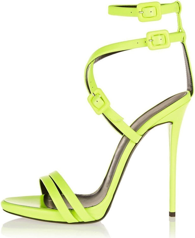 AIWEIYi Womens Stiletto High Heels Ankle Strap Dress Sandals Black