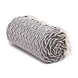 Americanflat Nira Throw Blanket in Black and Cream Chevron - 100% Cotton with Fringe - 50' x 60'