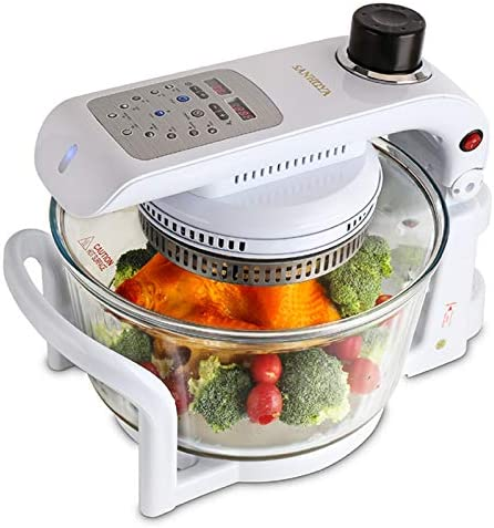 Convection Oven, Glass Bowl Container, Air Fryer Toast Oven Oil Free XL Electric Countertop Ovens Air Frier, White, 18QT