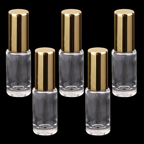 Hellery 5pcs 5ml Voyage Bouteille De Verre Rouleau Vide Sur Rouleau Pour L'huile Essentielle De Parfum