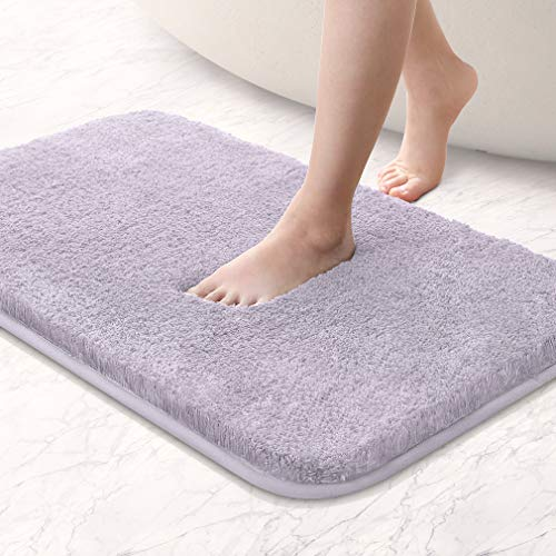 VANZAVANZU Bathroom Rugs Ultra Soft Absorbent Non Slip Fluffy Thick Microfiber Cozy Grey Bath Mat for Tub Shower Bathroom Floors Accessorie (20'x32', Baby Lavender)
