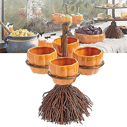 Halloween Pumpkin Snack Bowl Stand, Creative Halloween Snack Basket, Broomstick Snack Bowl Stand, Dessert Stands for Halloween Xmas Party Decors