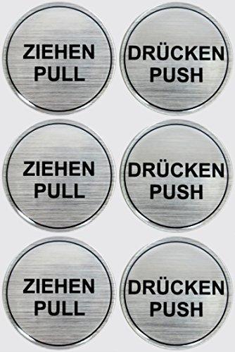 Stickers 3D set van 3 900020-D3 instructieplaatjes geborsteld aluminium trekker pull/druk push - totaal 6 stickers uitstekende bescherming tegen weersinvloeden, geen goedkope foliestickers