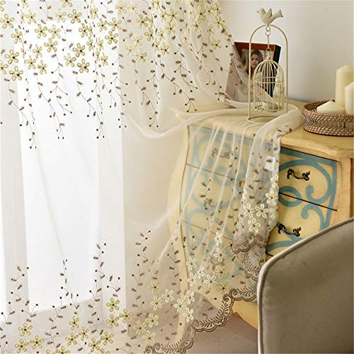 Gxi Tulle Curtains for Living Room Beige and Brown Floral Embroidery Sheer Voile Curtain 96 Inches Long for Bedroom Pinch Pleat Window Treatment Set for Sliding Glass Door, 2 Panels W55 x L96 inch