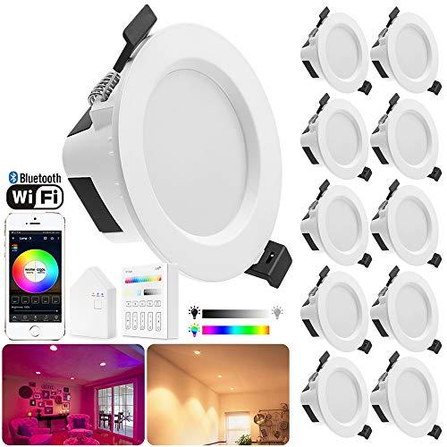 Geyueya - Foco LED para casa (regulable, Wi-Fi, Bluetooth, malla, LED, 5 W, RGBCW, RGBCW, RGB+Cool/Warm White CCT 2700K-6500 K, color cambiante para casa Bar KTV-10 Pack de 10 unidades)