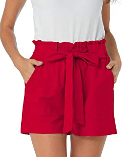 Aprance Paper Bag Shorts for Women High Waisted Tie Casual Summer Shorts with Pockets