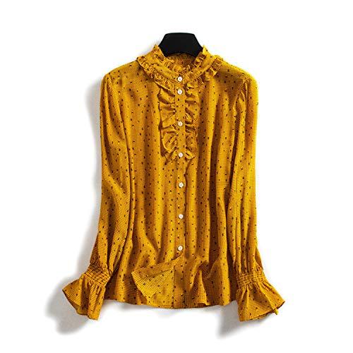 XCXDX Trompeten-Manschettenhemd, Gepunktetes Gelbes Top, Leichter Seidenoverall, Frühlingsbluse