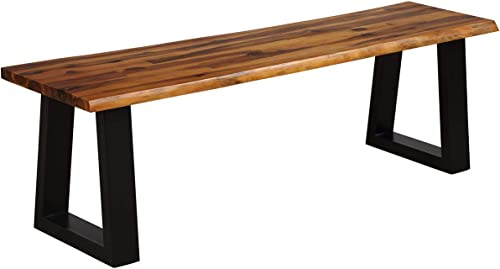 lowest Giantex Wooden outlet sale Dining Bench Seating Chair Rustic sale Indoor &Outdoor Furniture (Rustic Brown&Black) online