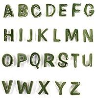 陶器の可愛い文字表札 「Puffy Sign パフィーサイン 」 アルファベット 【グリーンティ】 【I】 【アンカー同梱】