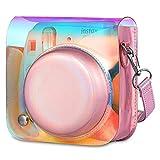 Fintie Funda para Fujifilm Instax Mini 9/Mini 8+/Mini 8 - Bolsa Protectora Transparente de Colores para Cámara Instantánea con Correa Desmontable, Cristal de Colores