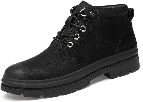 Shufang-chaussures Shufang-chaussures Bottines pour Hommes, Mode décontractée Haut Haut Bout Rond Cravate avec Semelle extérieure Chaussures de Travail (Couleur   Noir, Taille   38 EU)  À ne pas manquer!