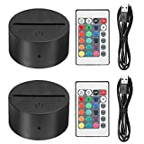 EEEKit 2 Pack 3D Night LED Light Lamp Base + Remote Control + USB Cable, 16 Colors Light Show Display Stand for Acrylic Plexiglass, Decorative Lights for Room Shop Restaurant (Black)