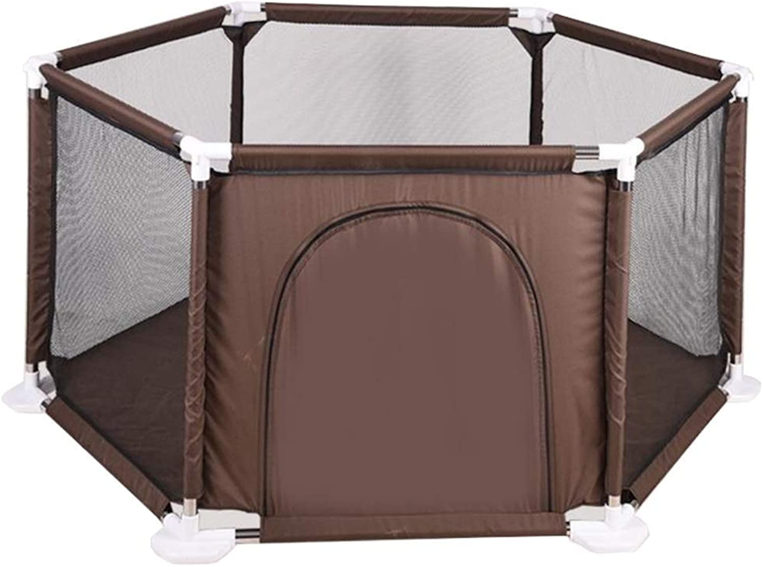 YINER Baby Fence, Detachable Game Fence Indoor and Outdoor Games Breathable Grid Baby Toddler Fence 65cm (color   Brown)