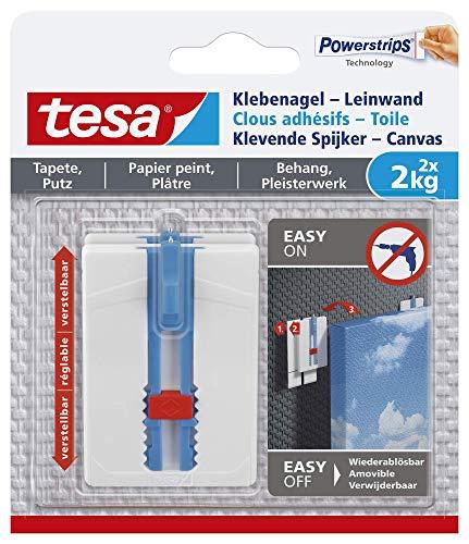 Tesa 77779 Leinwand Tapete & Putz Klebenagel Tapeten & Putz-höhenverstellbar-Selbstklebender ideal für Leinwand & Keilrahmen-Halteleistung 2kg/Nagel-spurlos ablösbar, Weiß