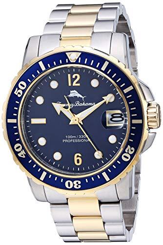 Tommy Bahama Men's Japanese Quartz Stainless Steel Strap, Metallic, 21.4 Casual Watch (Model: 215161GST711)