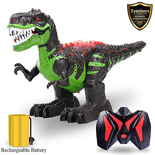 TEMI Remote Control Dinosaur for Kids Boys Girls, Electronic RC Toys Educational Walking Tyrannosaurus Rex Dinosaur with Lights and Sounds Powered by Rechargeable Battery, 360 Degree Rotation Stunt