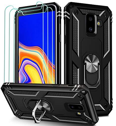 ivoler Funda para Samsung Galaxy J6 2018 + [Cristal Vidrio Templado Protector de Pantalla *3], Anti-Choque Carcasa con 360 Grados Anillo iman Soporte, Hard Silicona TPU Caso - Negro