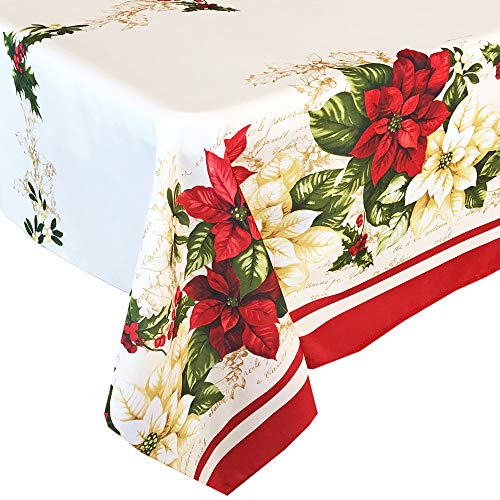 Newbridge Presley Red and White Poinsettia Double Bordered Christmas Fabric Tablecloth, Christmas Cottage Floral Bordered Print Easy Care, Stain Release Tablecloth, 60 Inch x 144 Inch Oblong/Rectangle