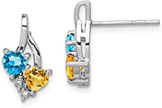 Solid Sterling Silver Rhodium-Plated Blue Topaz & Citrine Diamond Earrings