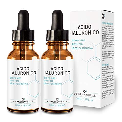 Acido Ialuronico Viso - Siero Antimacchia 2x30ml | Vitamina C - Effetto Anti Età – Antirughe – Acne - Cicatrici | Vegano e Naturale | Formula innovativa