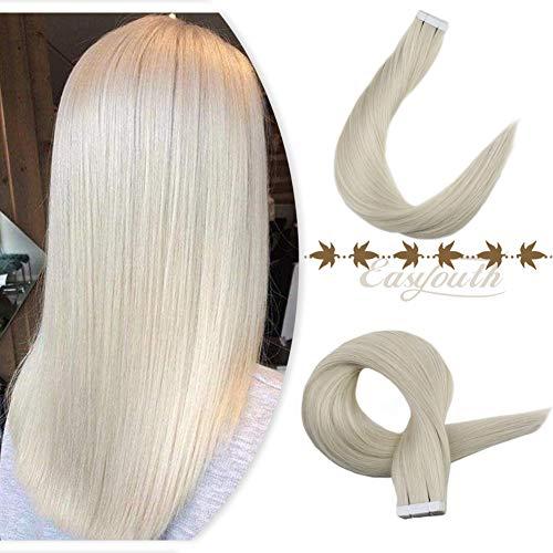 Easyouth 20 Zoll Band in Echthaar Extersion Hauteinschlagkleber auf Haarfarbe # 1000 Eisblond 20 Stück 50g/Paket Kleber auf Haarverlängerung
