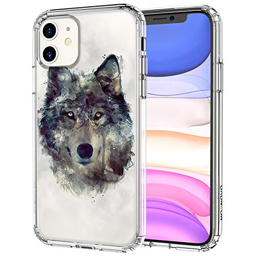 MOSNOVO iPhone 11 Case, Wolf Pattern Clear Design Transparent Plastic Hard Back Case with TPU Bumper Protective Case Cover for Apple iPhone 11 (2019)