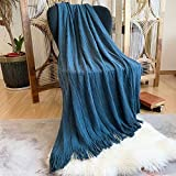 DISSA Knitted Blanket Super Soft Textured Solid Cozy Plush Lightweight Decorative Throw Blanket with Tassels Fluffy Woven Blanket for Bed Sofa Couch Cover Living Bed Room (Navy Blue, 50'x60')