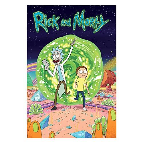 VAST Juegos de Puzzles, Rompecabezas Temas Conjuntos for la Familia, Juegos de Reto, 300 ~ 1000 Piezas Animado Rick y Morty Puzzles de Dibujos Animados 523 ( Color : A , Size : 500pc )
