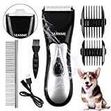 seanme Dog Clippers Washable, New Upgrade Waterproof 2 in 1 Pet Grooming Kit with Double Blades Professional Electric Trimmer Set Rechargeable Cat Trimmer Low Noise Shaver for Pets/Dogs/Cats