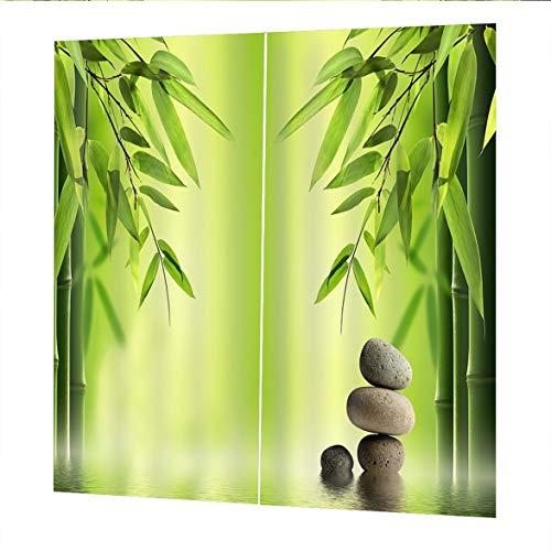 Sylvialuca Vorhänge Für Wohnzimmer Schlafzimmer Fenster Vorhänge Grüner Bambus Gedruckt Balkon Sonnenschutz Garten Stil 150 * 166