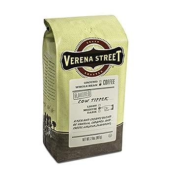 Verena Street 2 Pound Flavored Whole Bean Coffee Cow Tipper Medium Roast Rainforest Alliance Certified Arabica Coffee