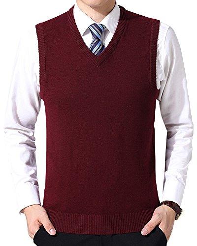 Chaleco de Suéter Hombre Sin Mangas Cuello en V Color Sólido Negocio Punto Chalecos Vino Rojo 2XL