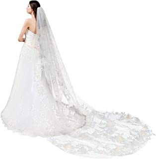 Lace 3D Floral Wedding Bridal Veil 1 Tier Cathedral Length Soft Long Tulle Off White