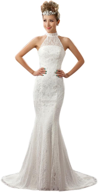Dearta Women's Mermaid Trumpet High Neck Court Train Lace Wedding Dresses
