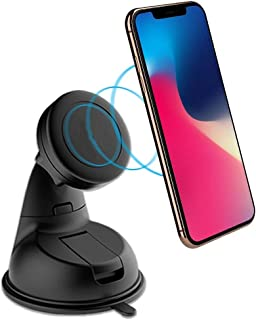 SaleOn™ Magnetic Mobile Car Mount Holder Stand for Windscreen, Dashboard & Table Desk 360-Degree Rotating with Double Grip Holder(Black)