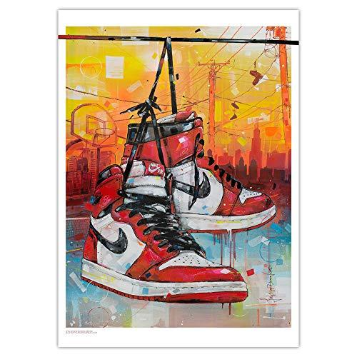 Impresión artística de Nike Air Jordan 1 High Retro Chicago (50 x 70 cm), sin marco.