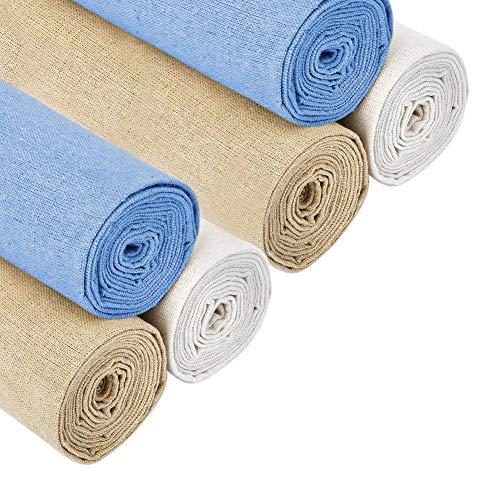 Lot de 4 Pièces de tissu en lin naturel pour travaux d'aiguille, confection de vêtements, tissu en lin 50 cm pour tissu d'ameublement, décoration de pot de fleurs et nappe, blanc 6 Pieces