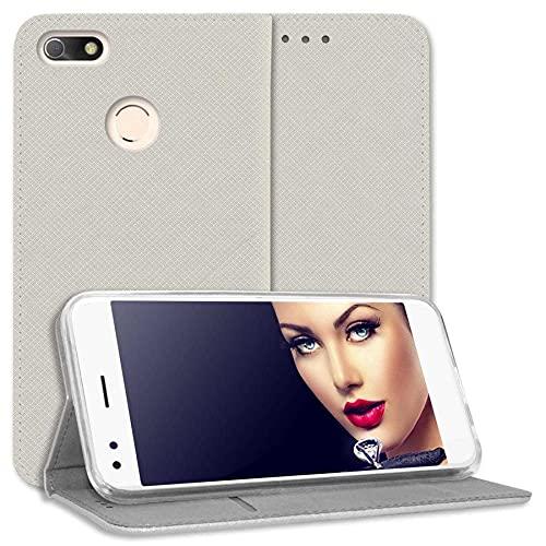 mtb more energy® Schutz-Tasche Bookstyle für Huawei P9 Lite Mini / Y6 Pro 2017 (5.0'') - Silber-grau (hell) - Kunstleder - Klapp-Cover Hülle Wallet Hülle