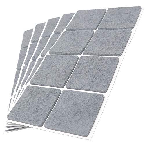 Adsamm® | 40 x Filzgleiter | 50x50 mm | Grau | quadratisch | 3.5 mm starke selbstklebende Filz-Möbelgleiter in Top-Qualität