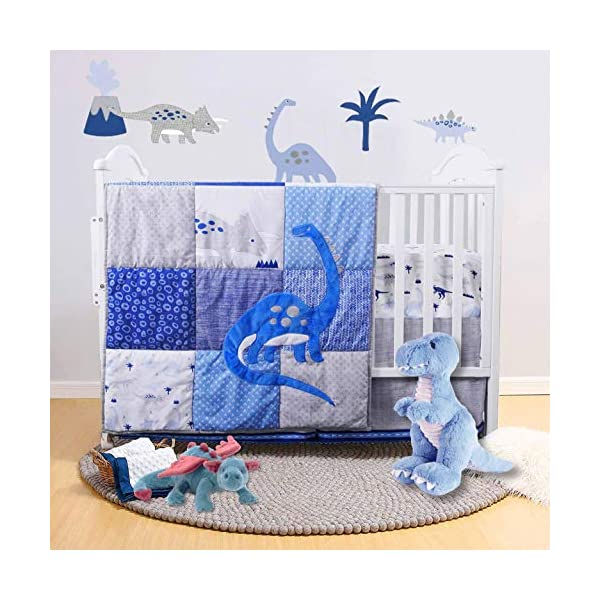 Little Grape Land Embroidery Navy Dinosaur 3 Piece Nursery Crib Bedding Sets Without Bumper, Soft Polyester Microfiber Baby Bedding Set for Standard Size Crib .Grey Comforter Set for Boys