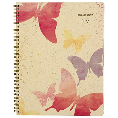 """AT-A-GLANCE Weekly / Monthly Planner / Appointment Book 2017, Recycled, 8-1/2 x 11"""", Watercolors (791-905G)"""