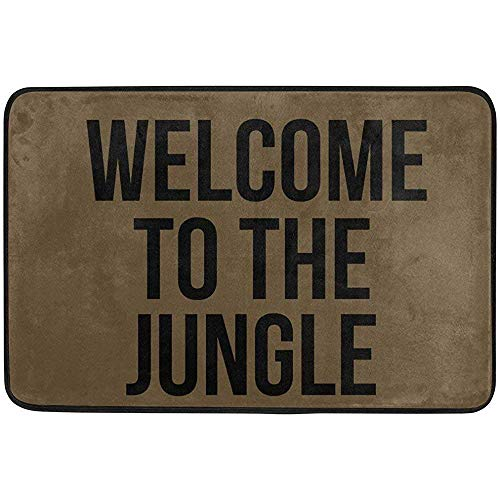 Entryway Mat,Entrance Doormat Welcome To The Jungle Machine Washable Rug Non Slip Mats Bathroom Kitchen Decor Area Rug 60 X 40 Cm