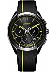 Comtex 腕時計 メンズ ブラック セラミック シリコンバンド クロノグラフ 多針 アナログ クオーツ ウオッチ 男性 時計 黒